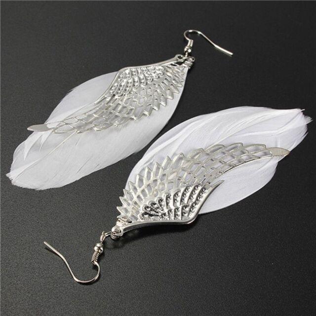 1 Pair Retro Women Ladies Ear Studs Angel Wings Feather Earrings Fashion Jewelry