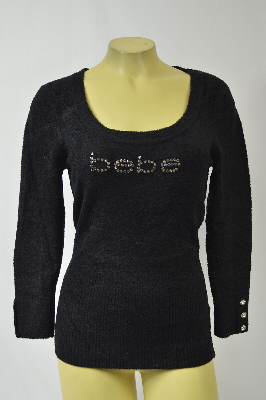 BEBE sweater top shirt longsleeve crystal logo baby fur 227526 schwarz
