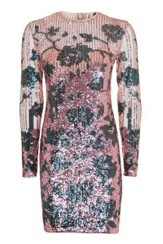 Cocktail Embellished Topshop Bodycon Uk Party Fitted 44 Dress Floral Ombre 16 WYTqT65ZP