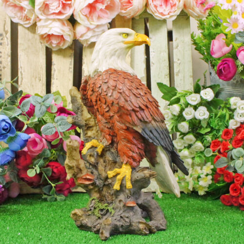 Perching Bald Eagle Garden Sculpture Animal Lawn Ornament Bird Statue Tree Gift
