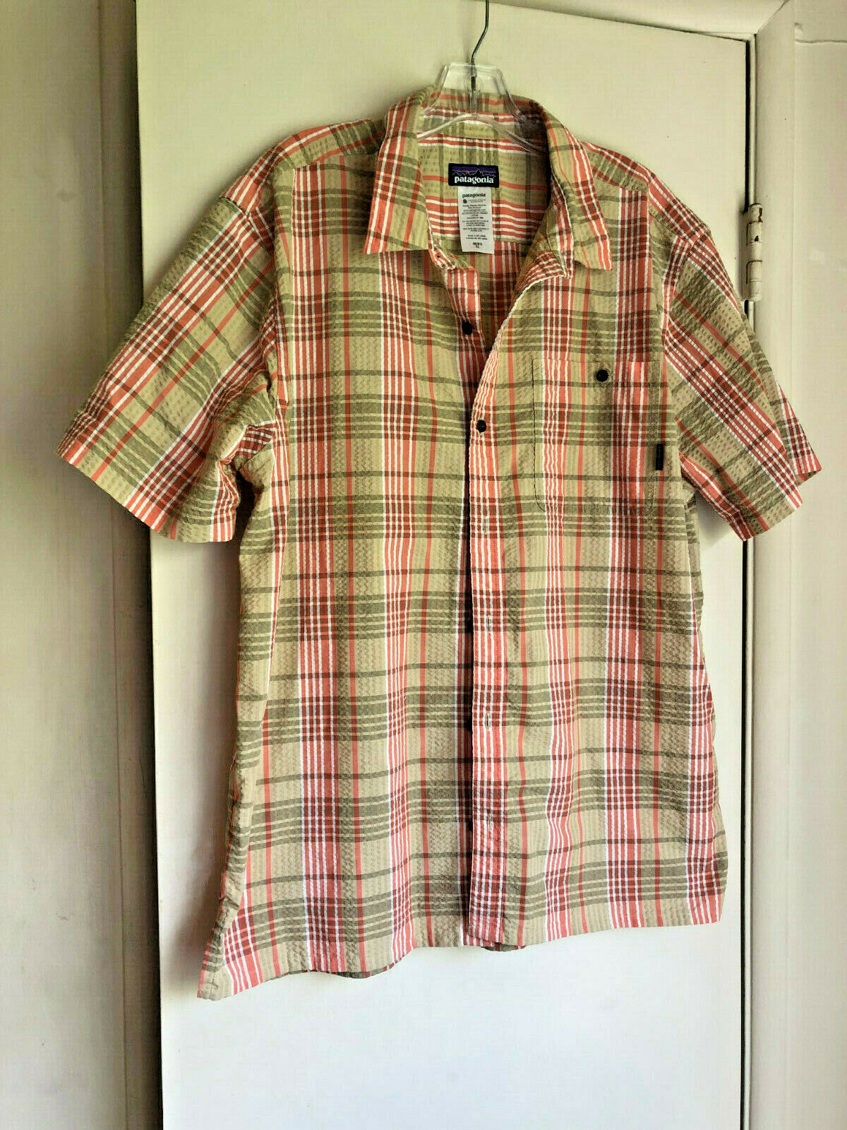 Patagonia Men's orange and gold Plaid Short Sleeve Cotton Shirt - Size XL