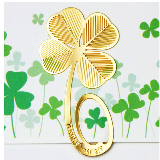 Lucky Gold Four-leaf Clover Reading Metal Clip Bookmark Cute Gift Book Mark 2017