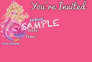 Details About Barbie Invitations With Matching Envelopes Mermaid Birthday 12pack