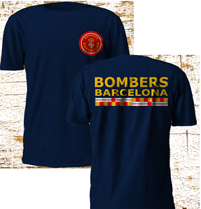 New Bombers Barcelona Barca Firefighter Fire Department Navy T Shirt S-3XL