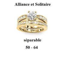 Dolly-Bijoux Femme Bague Alliance T50 2 en 1 Diamant Cz Plaqué Laminé Or 18K
