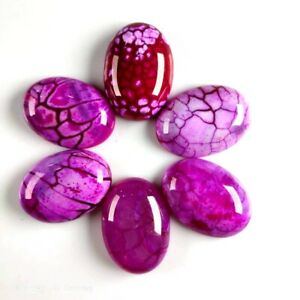 6pcs-25x18x6mm-Beautiful-Oval-Rose-Red-Dragon-Veins-Agate-CAB-CABOCHON-FF-cabl6