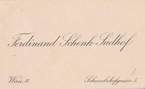 Details Zu Visitenkarte Ferdinand Schenk Sudhof Wien Vi Schmalzhofgasse 5 Handschrift