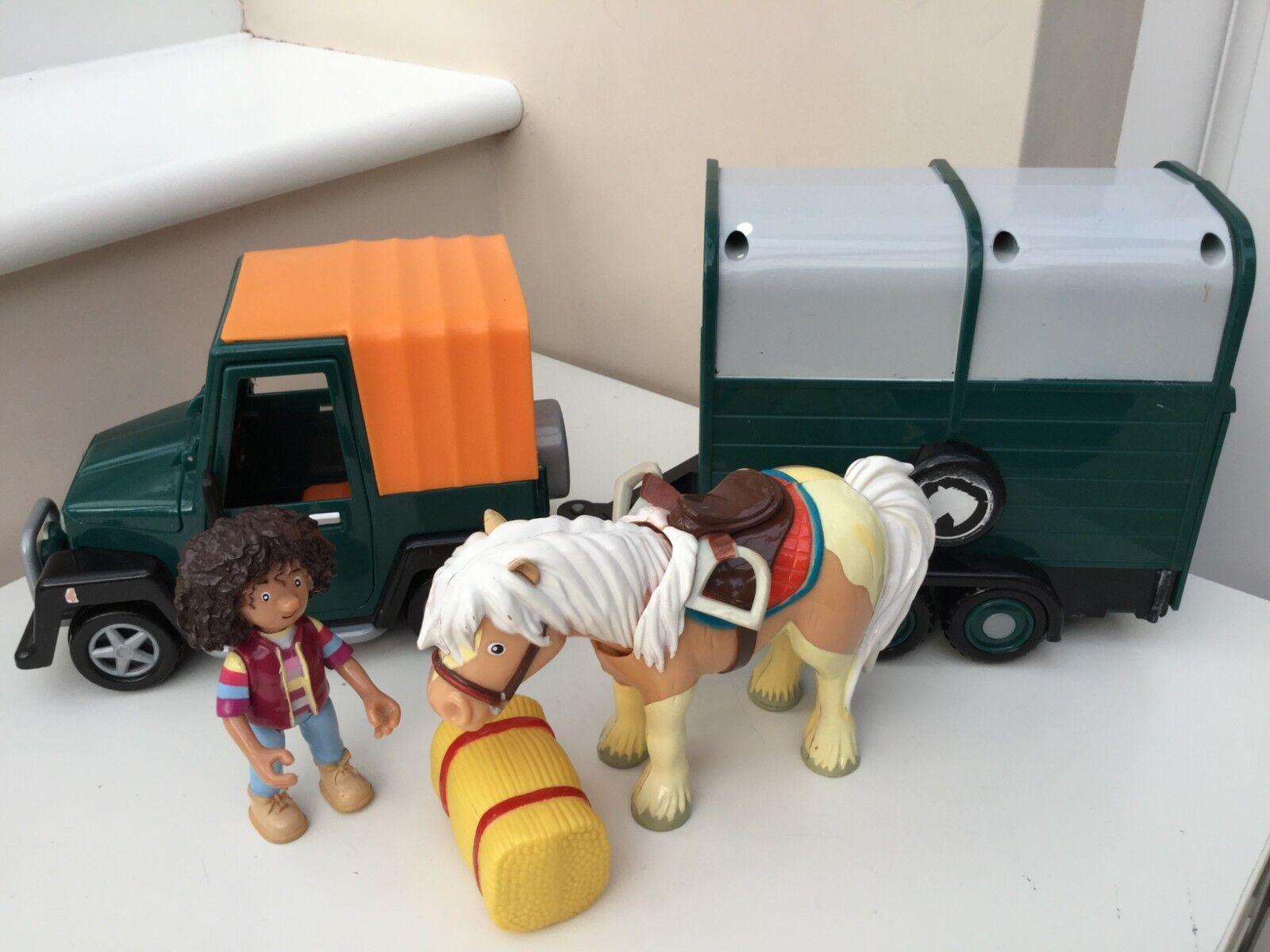 POSTMAN PAT VET 1 FRICTION 4 X4 JEEP & HORSEBOX, AMY, PUMPKIN & HAY BALE RARE HT