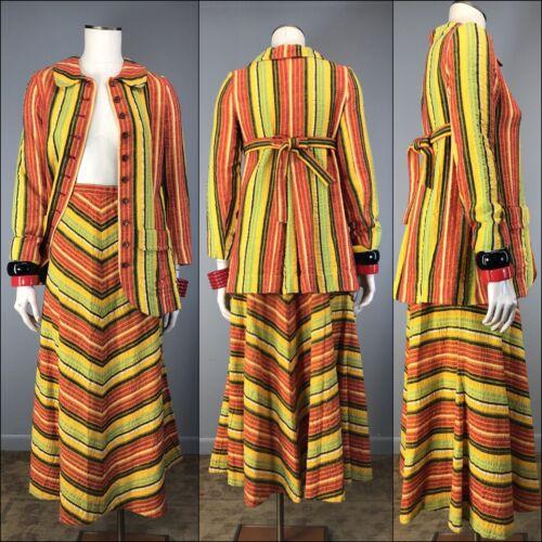 Vtg 70s Blazer Skirt Designer Cotton Seersucker Ch