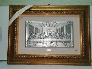 quadro-ultima-cena-lastra-argento-pezzo-cornice-in-vero-legno-foglia-oro-e-vetro