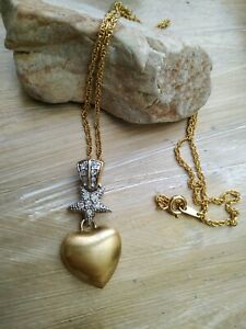 Vintage-fifth-5th-avenue-Goldtone-heart-star-necklace