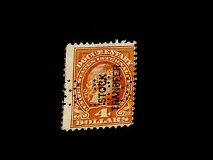 Vintage-Stamp-1917-UNITED-STATES-4-DOLLAR-STOCK-TRANSFER-DOCUMENTARY-Precancel