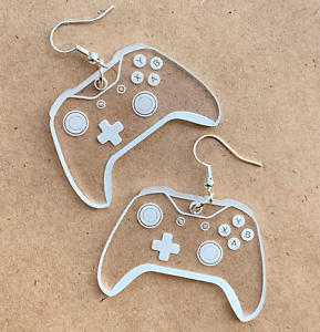 Game Controller Earrings Engraved Clear acrylic earrings Gamer Earrings