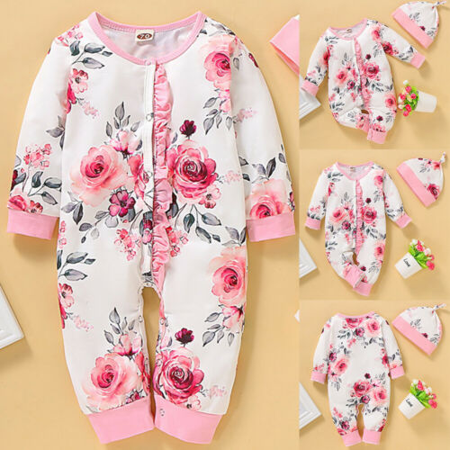 Baby Girl Long Sleeve Floral Printed Rompers Bodysuit+Hat 2Pcs Outfits Set 0-18M