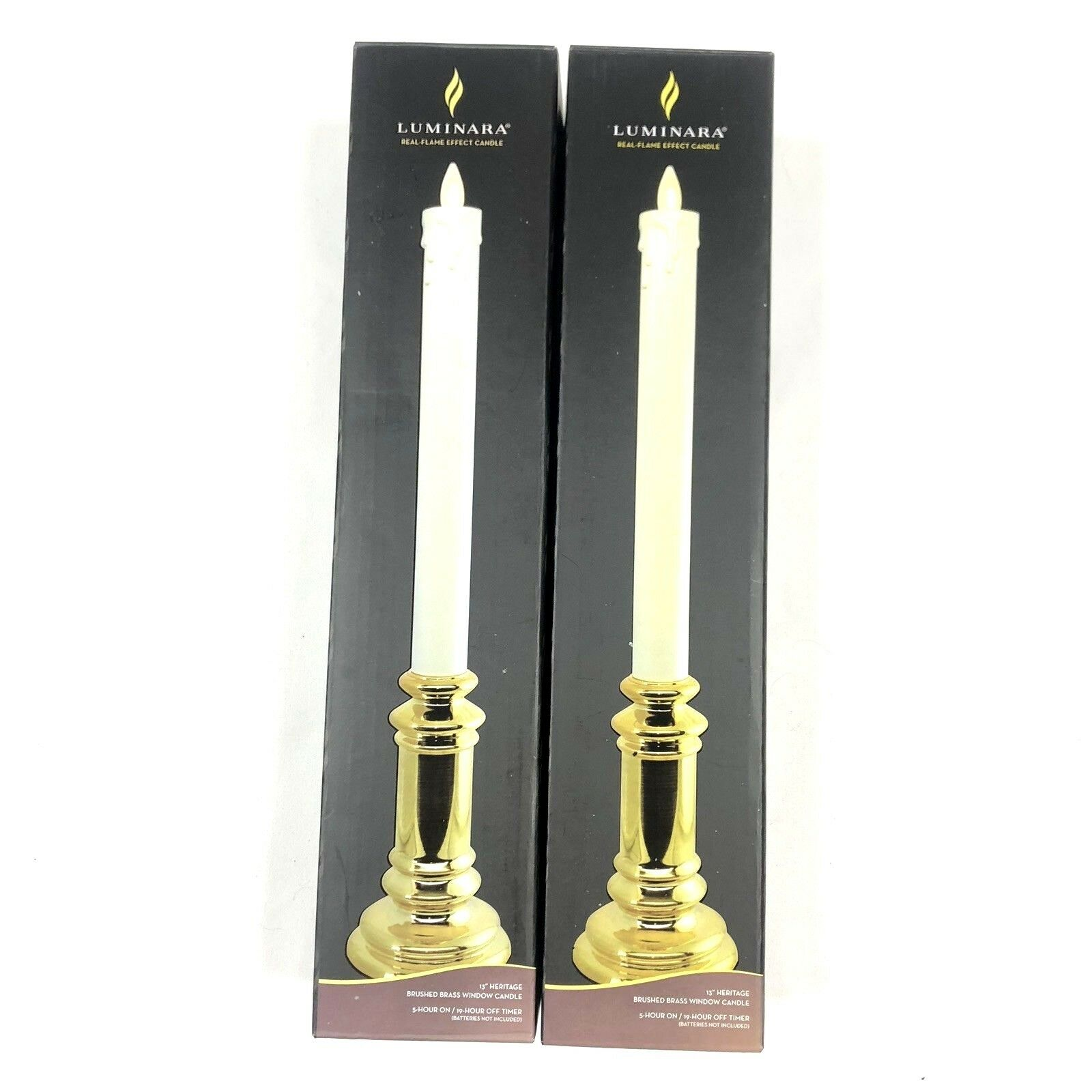 NEW Luminara Heritage pair 2 ivory shiny Gold flame effect candlestick candles