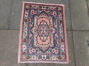 Vintage-Hand-Made-Traditional-Rug-Oriental-Wool-Pink-Blue-Small-Rug-84x65cm
