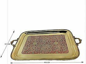 Brass Rectangle Tray Large Serving Tray 49.5 X 31.5 X 2 Cm