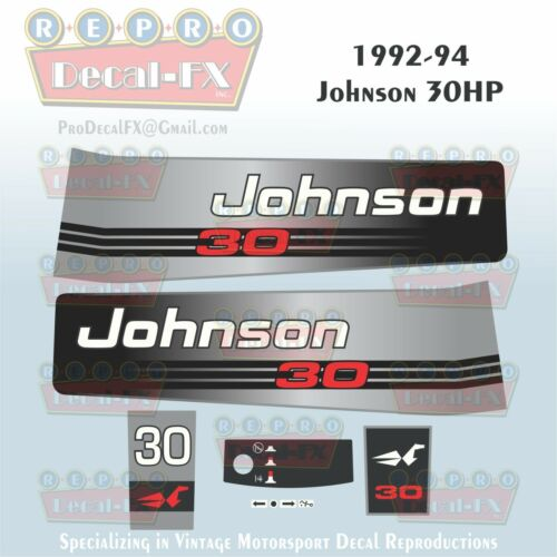 1992-94 Johnson 30 HP Sea-Horse Outboard Reproduction 7 Pc Marine Vinyl Decals
