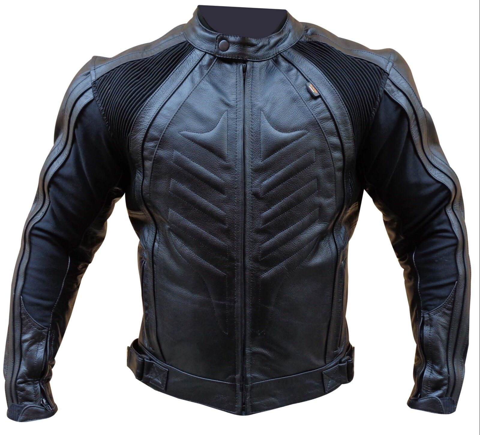 Giubbino Giacca Moto Pelle Sportiva CE Protezioni Rimovibili