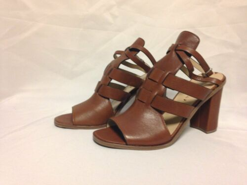 Via Spiga Brandina Open Toe Heel  Russet Brown Leather  New with Box