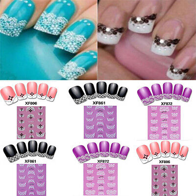 3D Transfer Lace Design Nail Art Tips Stickers Manicure Polish Decal Decoration