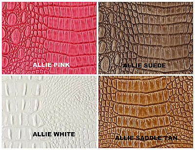 Alligator Faux Leather Upholstery Embossed Vinyl in SADDLE TAN  (by the yard)