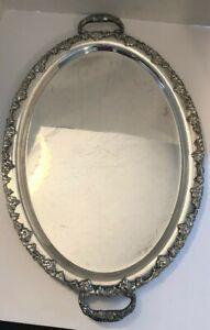 Antique-Sheffield-Plate-Oval-Ornate-Serving-Tray-Grape-Motif-Large-Platter