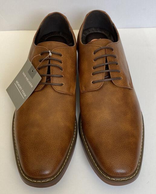 Memory Foam Van Heusen Mens Garrett Cognac Oxford Dress Shoes Comfortable Size10