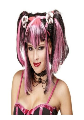 Black /& Pink Bad Evil Fairy Wig Halloween Horror Fancy Dress Accessory