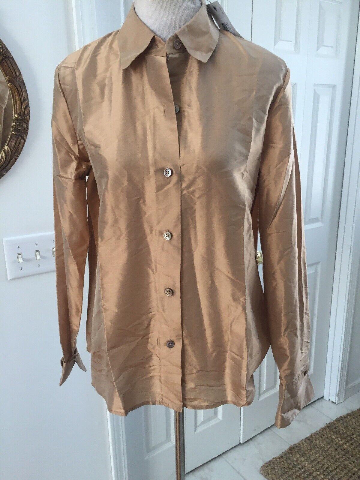 NWT  Ellen Tracy Linda Allard Gold Silk Blouse oben Hemd 10