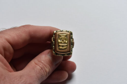 Large Vintage Mexican Biker Ring Aztec Knight Helm