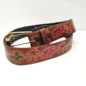 d851d4023b7e4 Made in India Classic Multicolor Tooled Leather Belt Elephants Palm ...