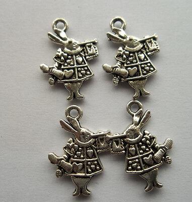 100pcs Tibetan silver rabbit charm pendant 20x14mm