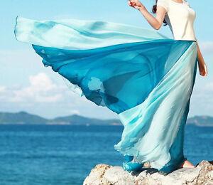 Gonna-Lunga-Vestito-Maxi-Skirt-Dress-Chiffon-Estate-Summer-Mare-Casual-A130001