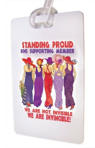 STANDING PROUD IN SUPPORT WHITE LUGGAGE TAG & STRAP FOR LADIES OF SOCIETY TRAVEL