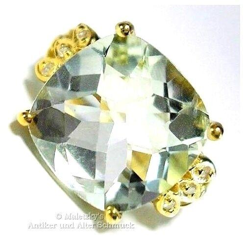 5,07ct Prasiolith Ring mit Diamanten 10K   416er gold greener Amethyst 17,5   55