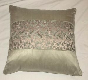 Sage-Green-amp-Gold-Embroidered-21-034-x-21-034-Throw-Pillow-EC