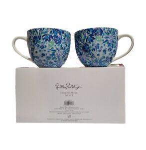 Lilly Pulitzer Coffee Mug Floral Blue Hidden Lions 12 oz Tea Cup Set of 2 NIB