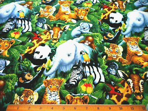 Cotton Fabric By The Yard Sale Baby Jungle Animals