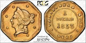 1853-1-BG-519-Gold-Dollar-US-Coin-Graded-PCGS-AU50-Gold-Shield-Holder