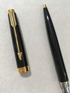 1990-PARKER-75-BLACK-LACQUER-GOLD-TRIM-BALLPOINT-PEN-FRANCE-BLUE-INK-SUPERB