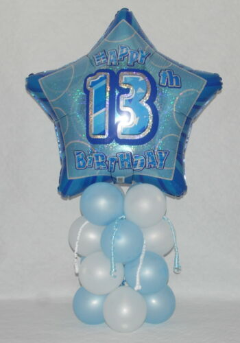 13th  BIRTHDAY FOIL BALLOON DISPLAY AGE 13 BOYS BLUE TABLE CENTREPIECE