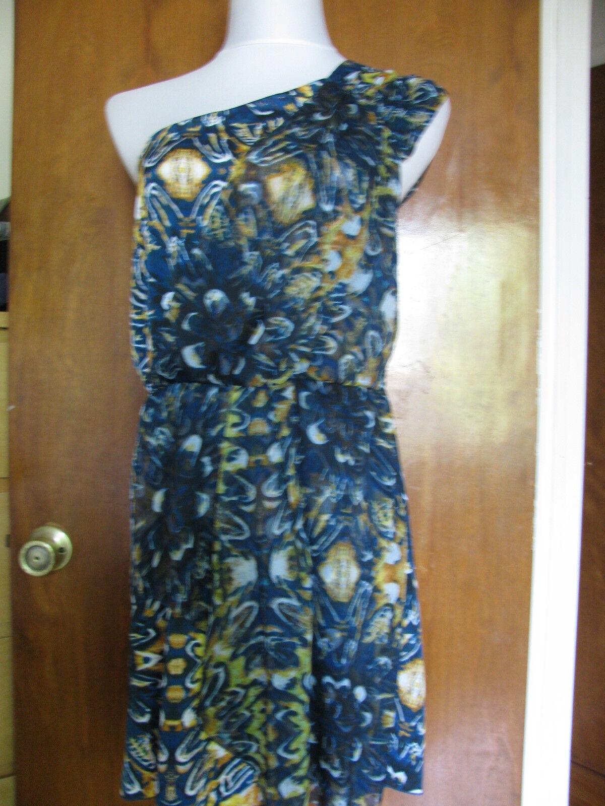 Buffalo damen's one shoulderot teal combo mini dress Größe large NWT