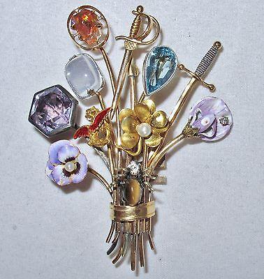 "2.65"" Antique or Vintage 14K Gold Hat Pin Cluster Brooch / Pin  (21.1 grams)"
