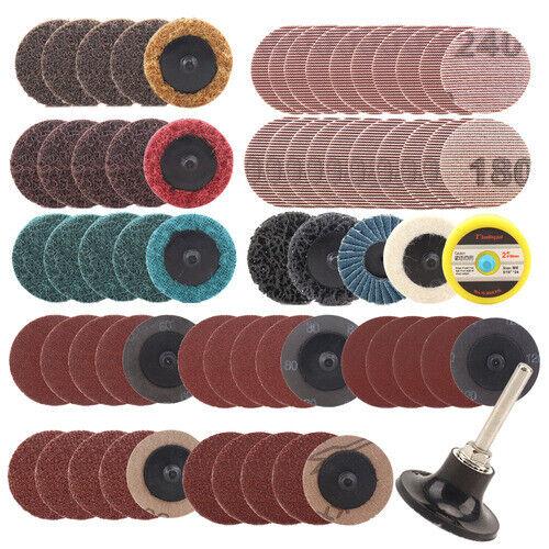 "66Pcs 2/"" 50mm Roloc Type R Roll Lock Quick Change Discs Die Grinder Sanding Pads"