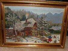 NEEDLE POINT PICTURE PROFESSIONALLY FRAMED EX. LARGE SOFA PICTURE OR OVER BED.
