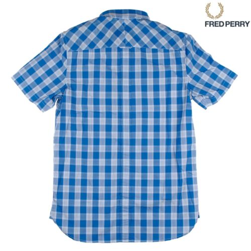 Fred Perry Tartan Gingham Mix Men/'s Short Sleeve Shirt M8273-969 PRINCE BLUE