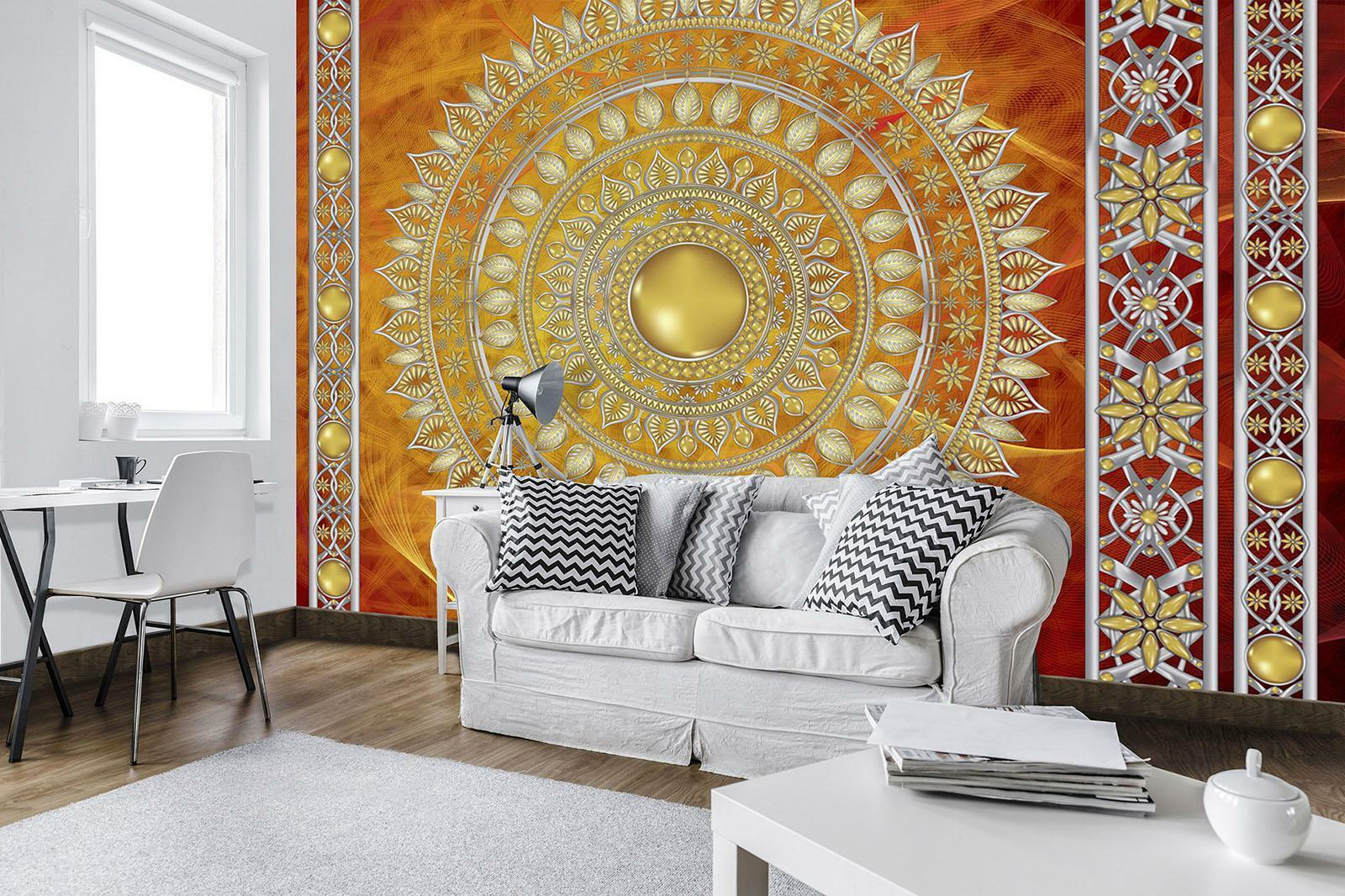 Photo Wallpaper Mural  10119_P Golden Mandala in ROT Mandala India hindi Orient