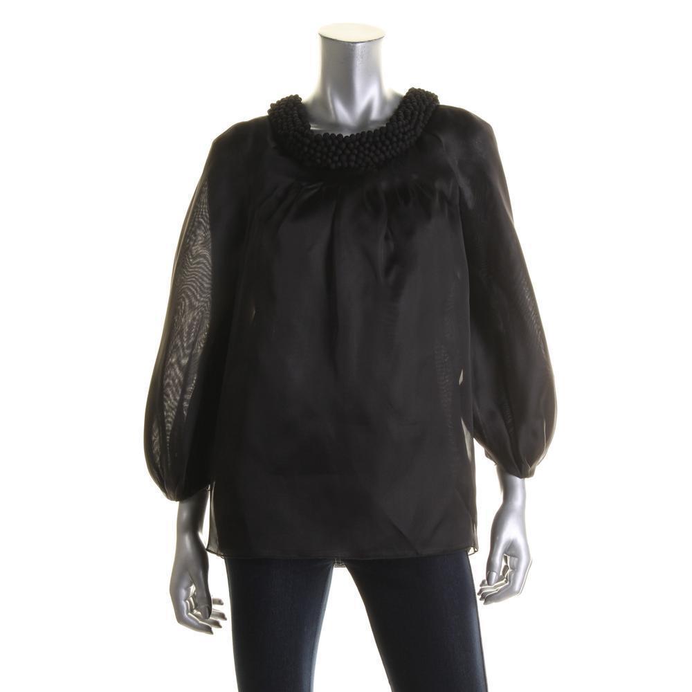 CATHERINE MALANDRINO NEW damen schwarz Silk Organza Blouse 40