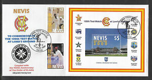 NEVIS 2000 LORD'S CRICKET 100th TEST MATCH 2v & S/Sheet FIRST DAY COVER